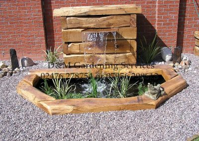 Olde English Riven, Turf, Oak & Water Feature